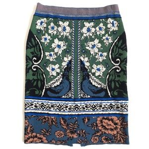 Anthropologie Jacquard Wool Embroidered Knit Skirt